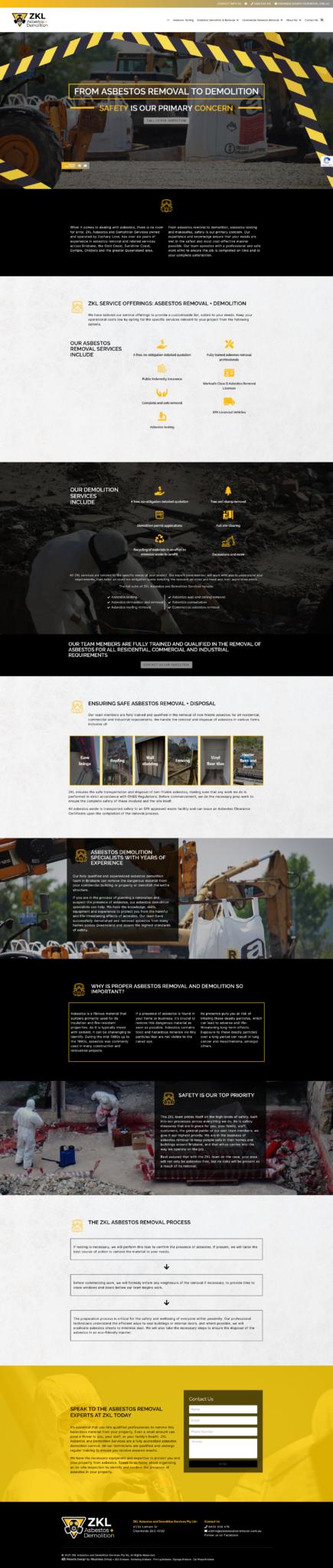 ZKL Asbestos and Demolition: Desktop View