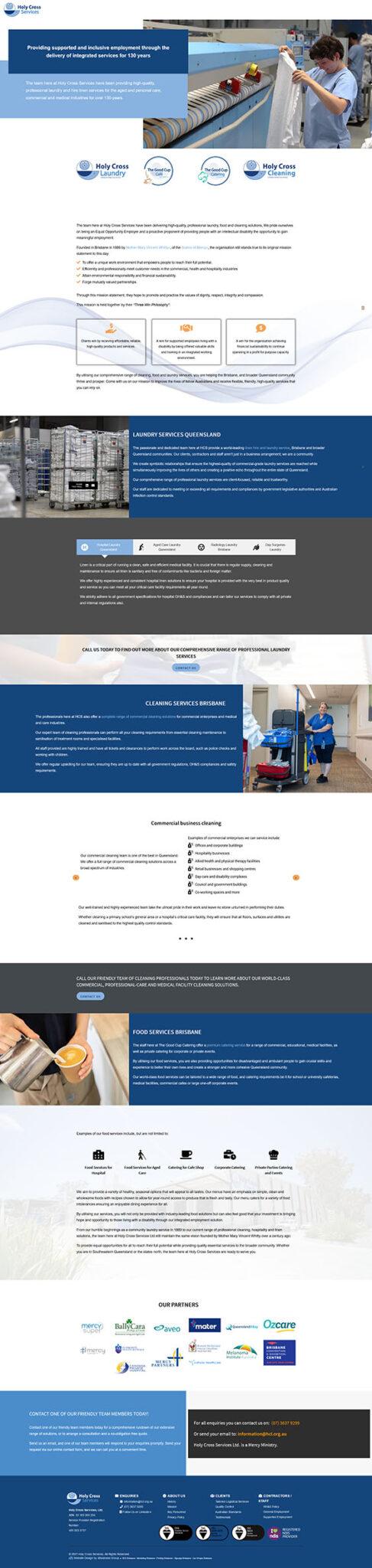 Holy Cross Services: Desktop View